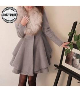 Dolly lap long manteau gris clair
