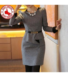 Casual work long sleeve woolen dress