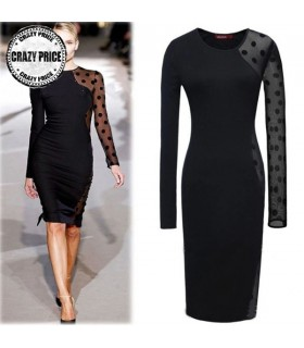 Schwarz engen sexy Durchsichtig Kleid