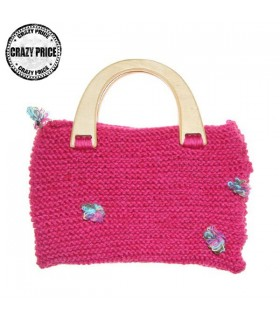 Pink wool handmade wood handle bag