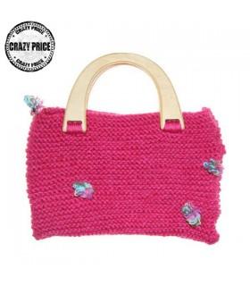 Sacchetto della maniglia di legno di colore rosa a mano in lana