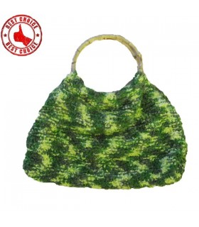 Green wool handmade bamboo handle bag