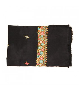 Wool embroidery black scarf
