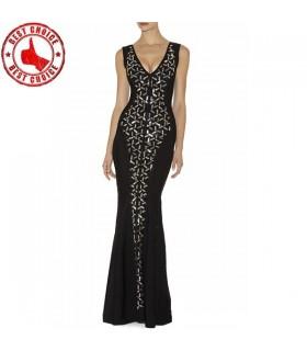Schwarze Verband lang verschönertes Kleid