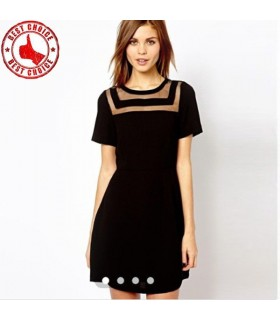 Collar perspective black dress