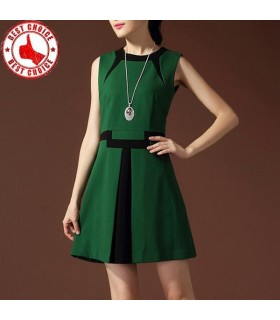 Green and black patchwork dress