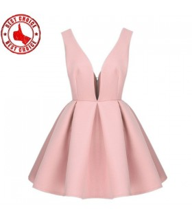 Light pink flare deep V-neck dress