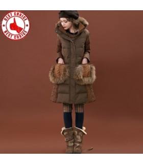 Patchwork manteau de duvet Vintage double couche