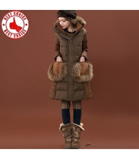 Vintage doppio strato patchwork giù il cappotto