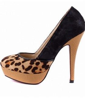 Schicker leoparden Plateau Pumps