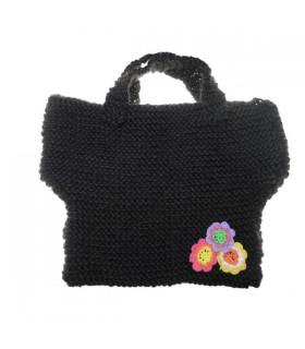 Gehäkelte schwarze Handtasche