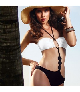 Fancy black and white geometric swimsuit