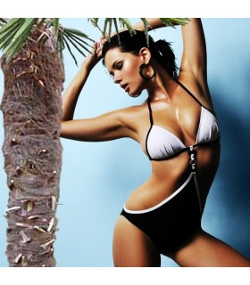 Schwarz-weißer Bikini
